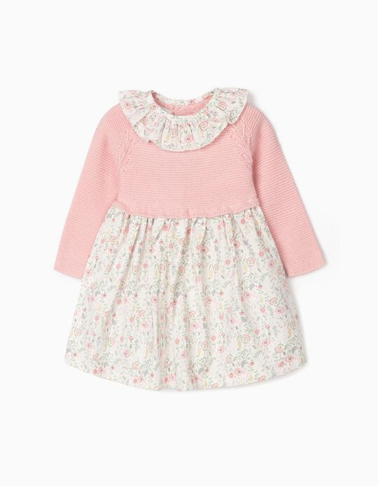 Dual fabric Dress for Baby Girls, Pink/White