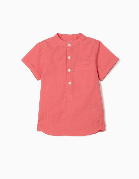 Textured Shirt for Baby Boys, Coral