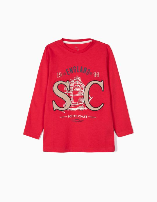 Camiseta de Manga Larga para Niño 'South Coast', Roja