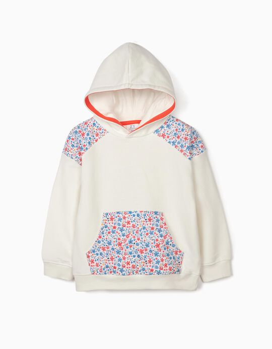 Sudadera con Capucha para Niña 'Flowers', Blanca