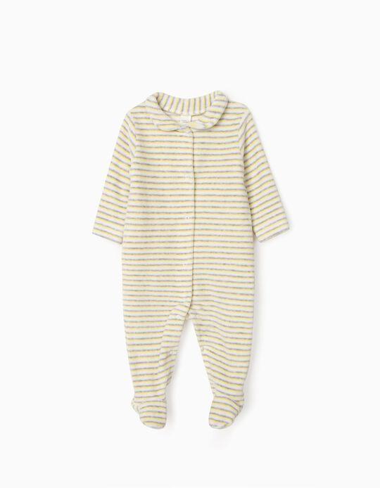 Babygrow Veludo para Recém-Nascido 'WH', Branco/Amarelo/Cinza