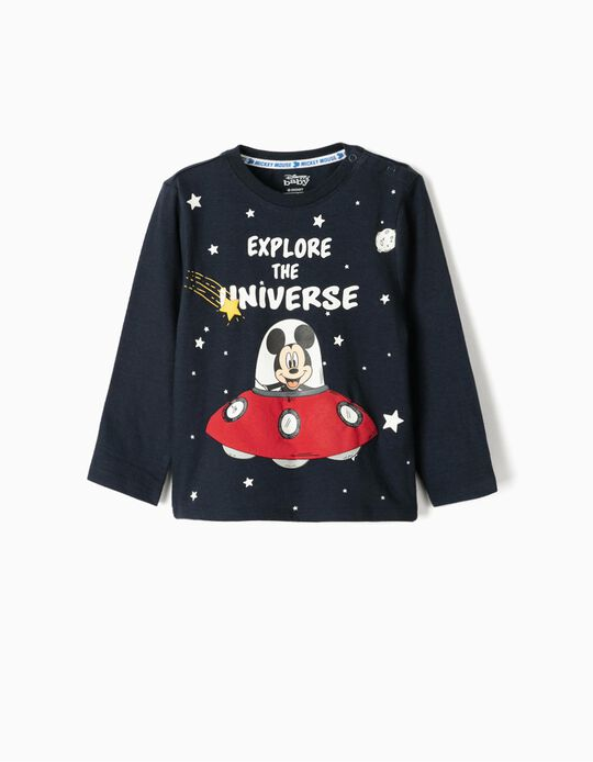 T-shirt manches longues bébé garçon 'Mickey Universe', bleu foncé