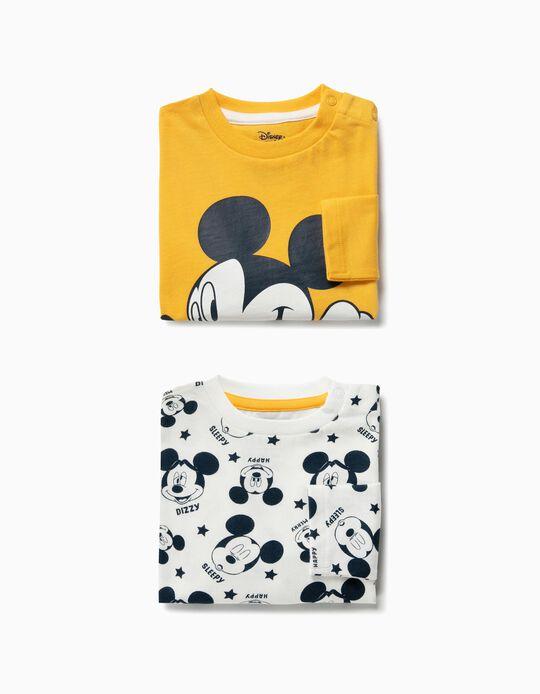 2 Camisetas de Manga Larga para Bebé Niño 'Mickey', Amarillo y Blanco