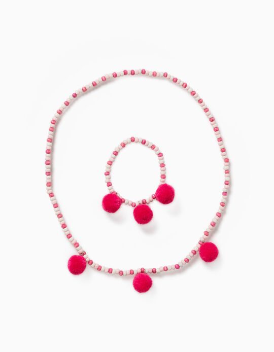 Bead Necklace and Bracelet for Girls, Pink/White