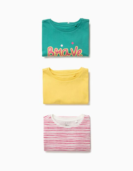 3 Camisetas para Niña 'Brave is the New Pretty', Multicolor