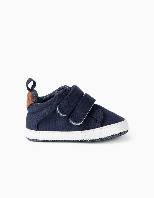 Fabric Trainers for Newborns, Dark Blue