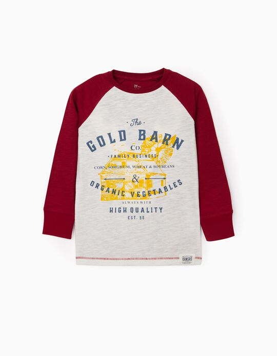 Long Sleeve Top for Boys 'Gold Barn', White/Bordeaux