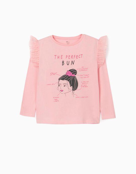 T-shirt Manga Comprida para Menina 'Bun', Rosa