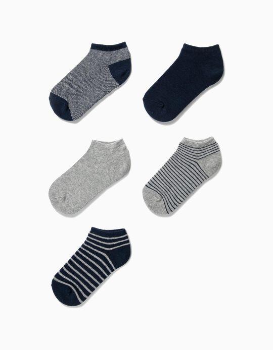 5 Pares de Meias Curtas para Menino 'Stripes', Azul Escuro e Cinza