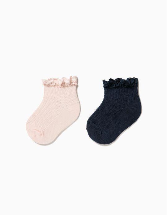 Pack 2 Calcetines de Encaje Rosa y Azul