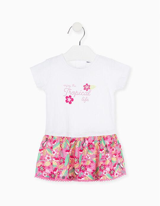 Vestido para Bebé Menina LOSAN, Branco/Rosa