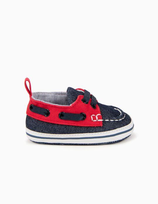 Zapatos de Dos Materias para Recién Nacido, Denim y Rojo