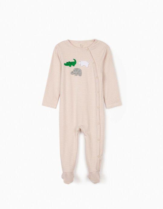 Grenouillère à rayures bébé garçon 'Animals', marron/blanc