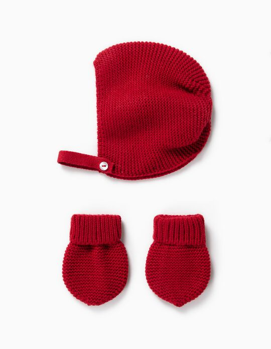 Knit Beanie and Gloves Set for Newborn, Dark Red