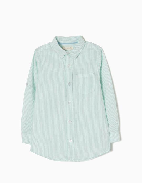 Camisa de Lino a Rayas Verdes