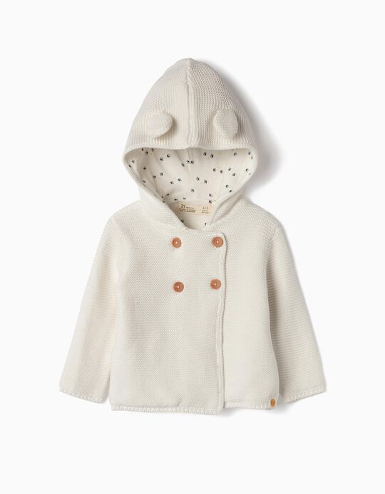 Hooded Knit Cardigan for Newborn, White