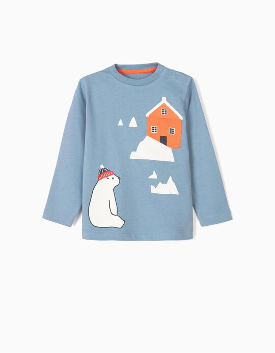 Long-sleeve Top for Baby Boys 'Bear', Blue