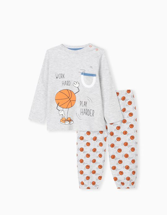 "Pyjama Bébé Garçon ""Play Harder"", Gris"