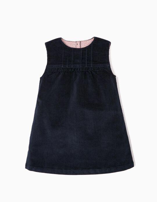 Vestido de Pana para Bebé Niña, Azul Oscuro