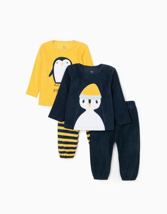 2 Pyjamas Polaires Bébé Garçon 'Penguin', Bleu Foncé/Jaune