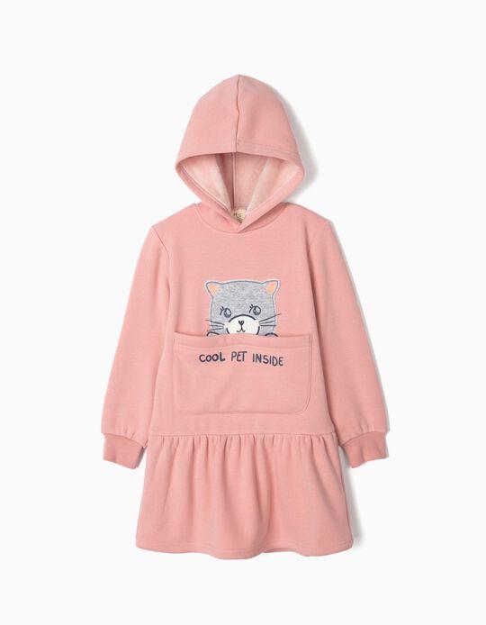 Vestido con Capucha para Niña 'Cool Pet Inside', Rosa