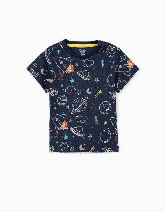 Camiseta para Bebé Niño 'Space', Azul Oscuro