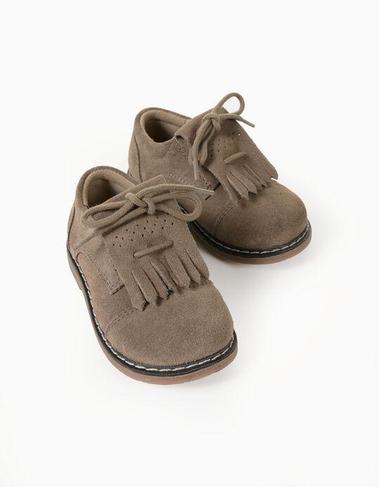 Sapatos Pele Camurça para Bebé Menino, Bege