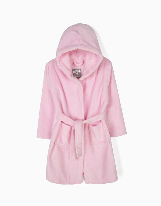 Hooded Robe for Girls, Pink