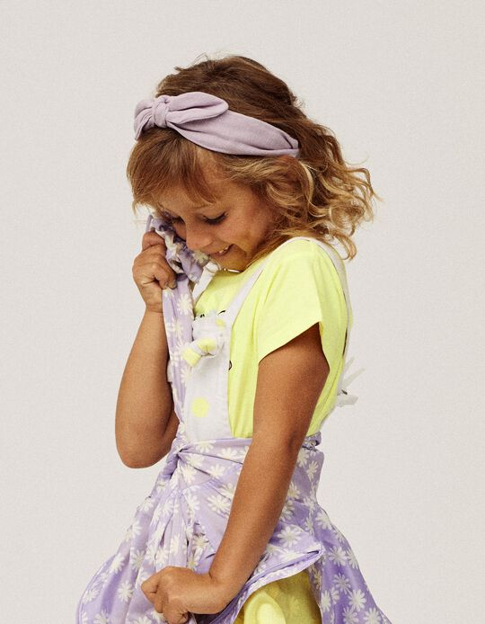 Textured Alice Band with Bow for Girls, Lilac