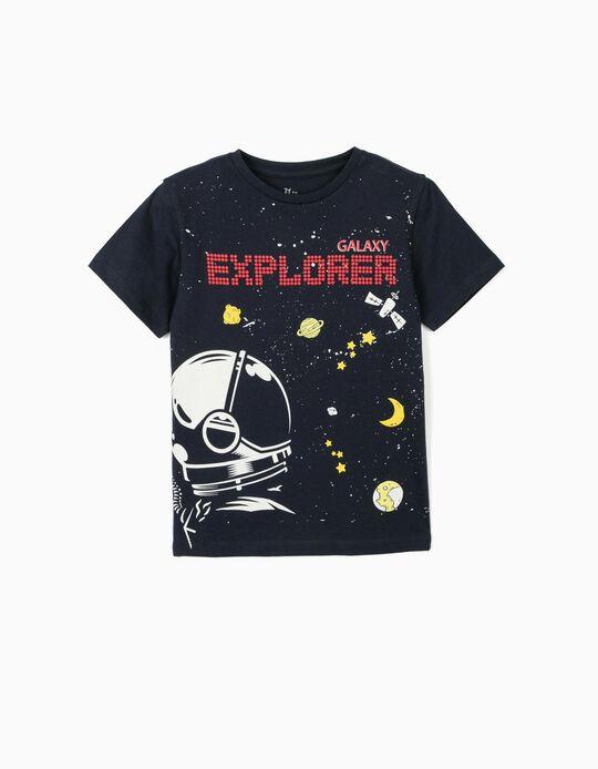 T-shirt para Menino 'Galaxy Explorer', Azul Escuro