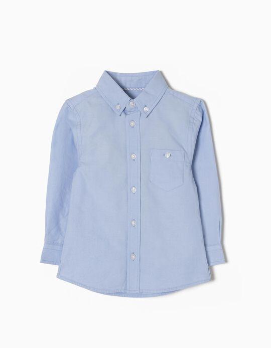 Camisa Manga Comprida para Bebé Menino, Azul