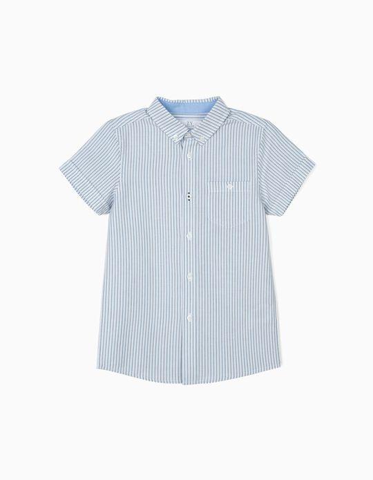 Camisa para Niño a Rayas, Blanca y Azul