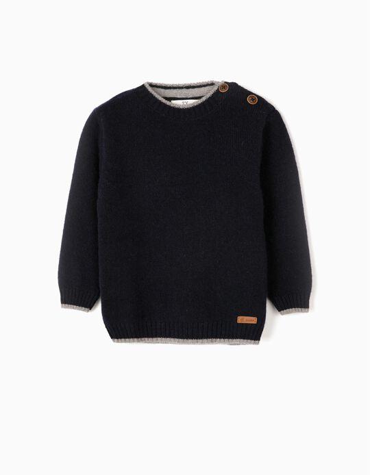 Camisola de Lã para Bebé Menino, Azul Escuro