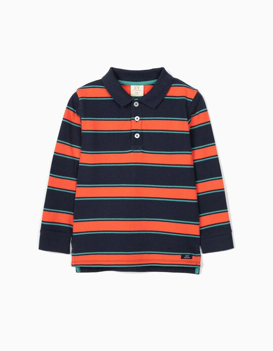 Striped Polo Shirt for Boys, Blue/Green/Coral
