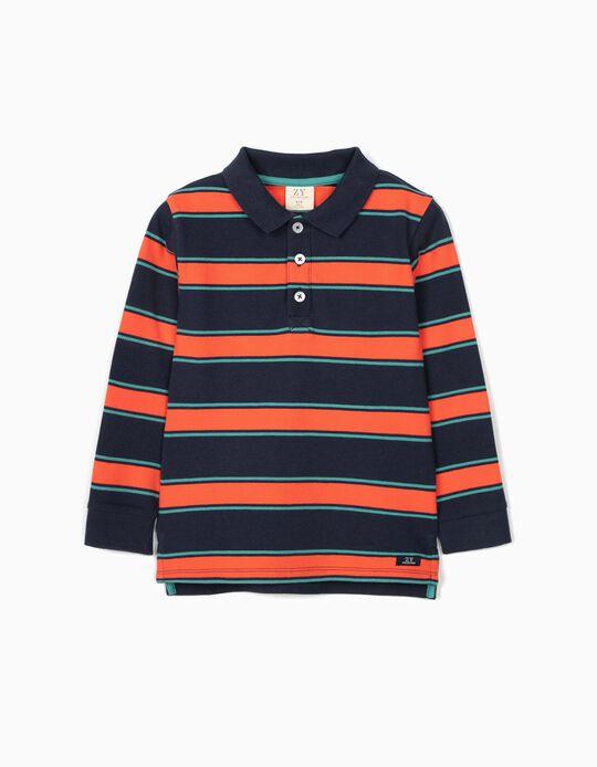 Polo à rayures garçon, bleu/vert/corail