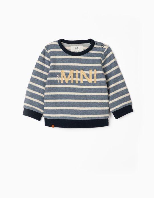 Striped Sweatshirt for Newborn Baby Boys, 'ZY Mini', Blue/White