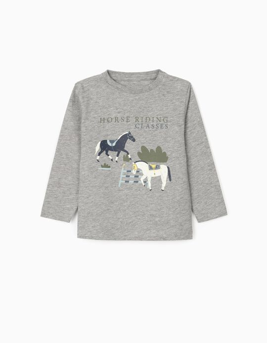 Camiseta de Manga Larga para Bebé Niño 'Horse Riding', Gris