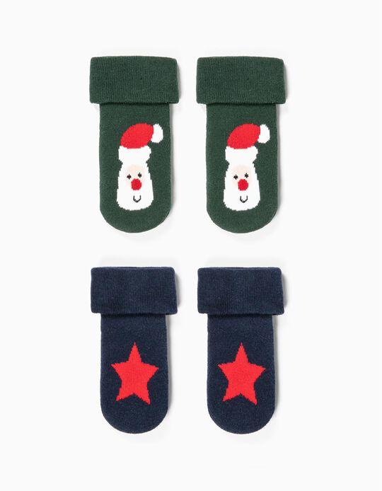 2 paires de chaussettes antidérapantes bébé 'Christmas', vert/bleu