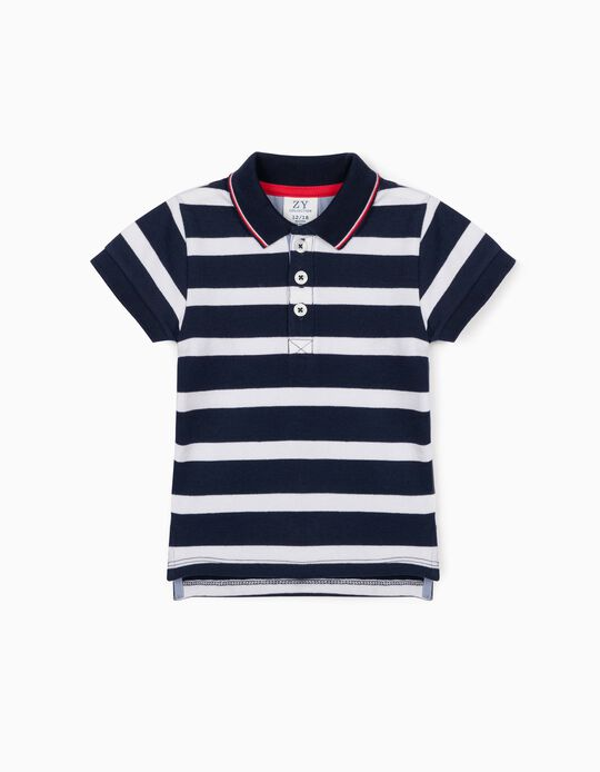 Short Sleeve Polo Shirt for Baby Boys, Blue/White