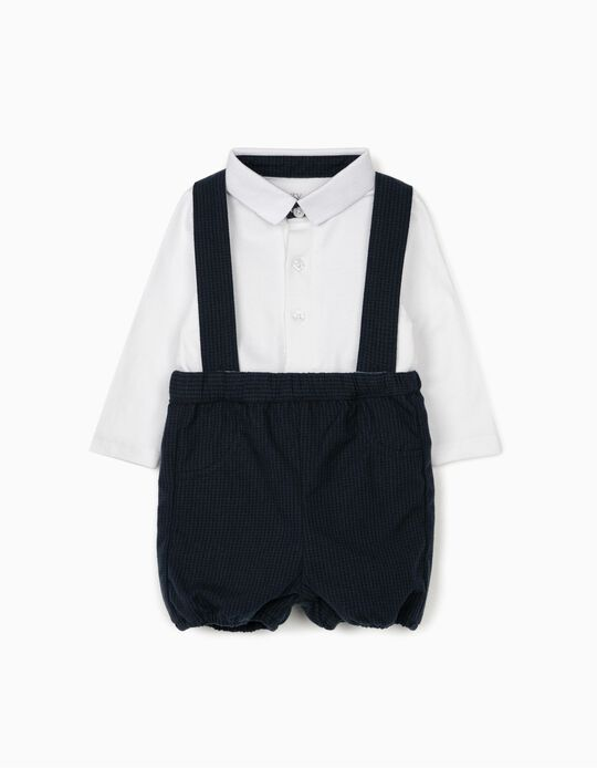 Gingham Shorts and Bodysuit for Newborn Baby Boys, Dark Blue