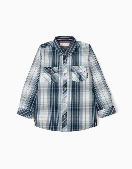 Camisa Ajedrezada Azul, para Niño