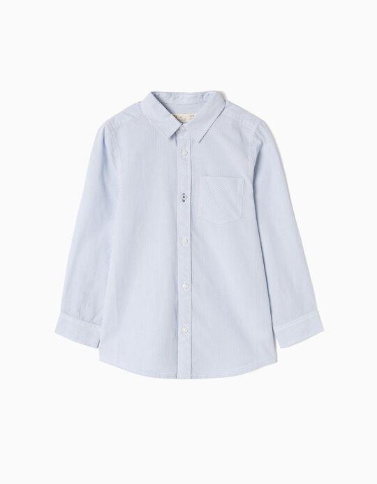 Camisa Manga Larga para Niño 'Rayas', Azul y Blanco