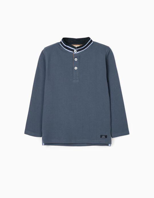 Long Sleeve Mao Collar Polo Shirt for Boys, Green/Blue