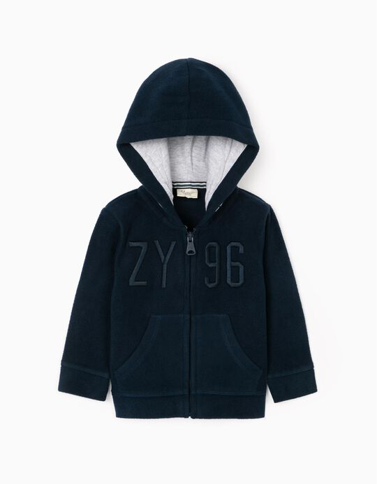 Casaco Polar com Capuz para Bebé Menino 'ZY 96', Azul Escuro