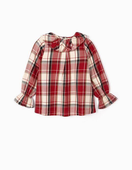 Blusa Xadrez para Menina 'B&S', Vermelho/Branco