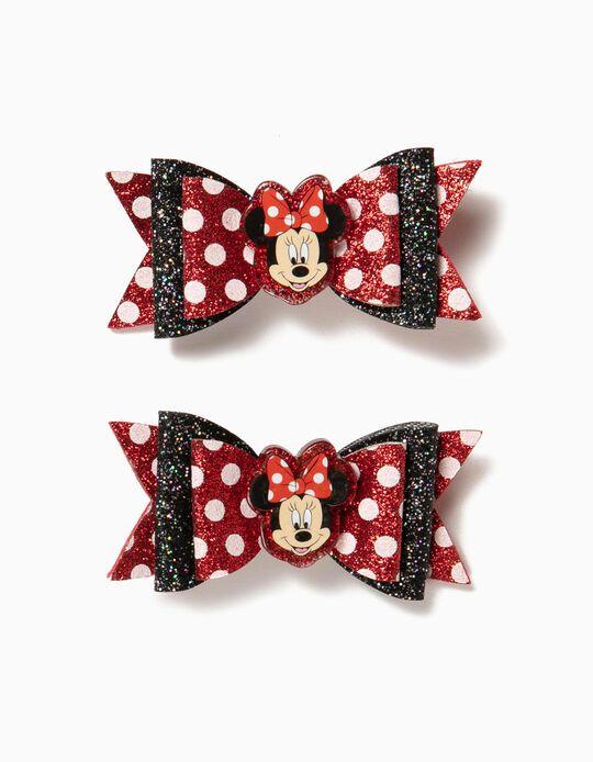 2 Travessões de Cabelo para Menina 'Minnie' Laços, Vermelho