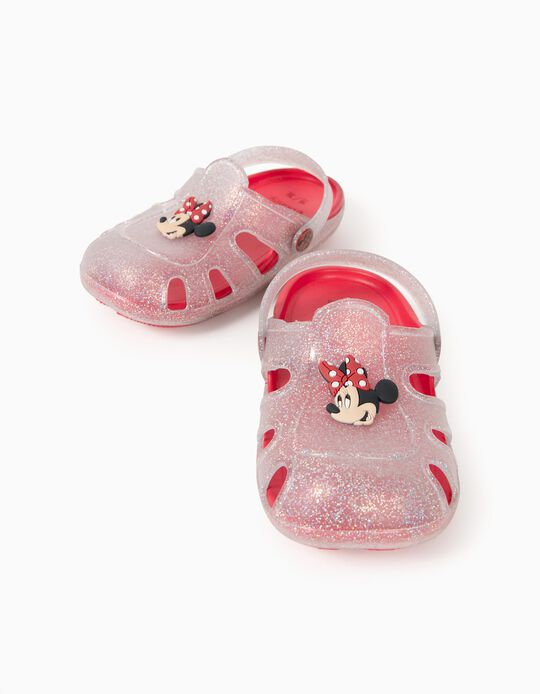 Clog Sandals for Girls, 'Minnie Mouse', Clear/Red