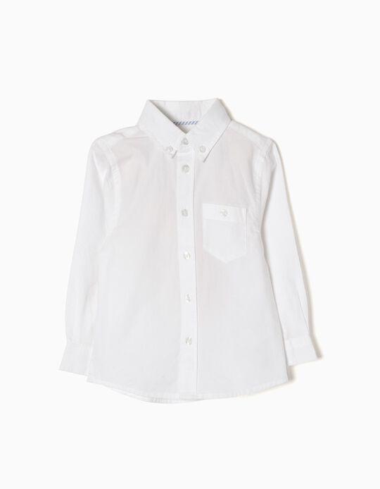 Camisa Manga Larga para Bebé Niño, Blanca