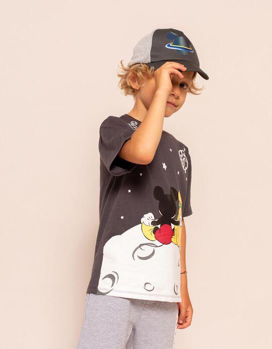 T-shirt para Menino 'Mickey & Pluto in Space', Cinza Escuro