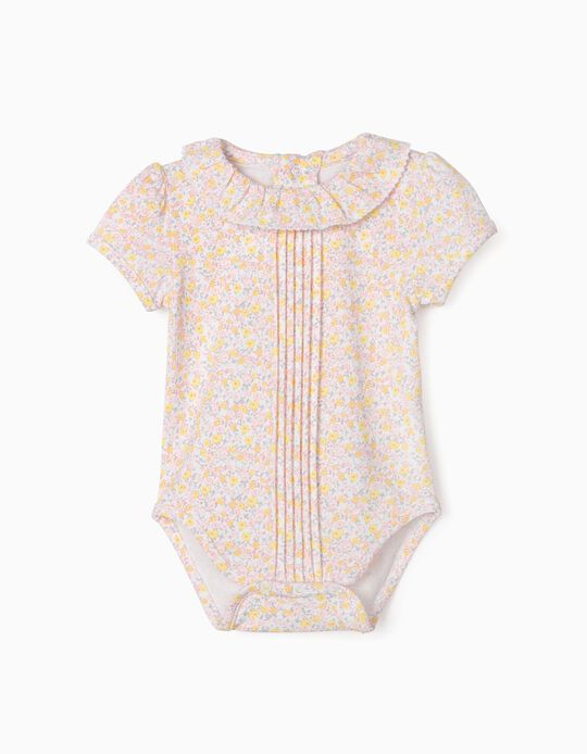 Floral Bodysuit for Baby Girls, White